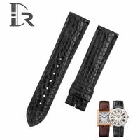 Replacement Black leather small-scale watch strap single-folded deployment buckle fit for Cartier Ta