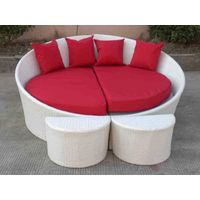Outdoor wicker furniture-sun lounger with cushion and pillow