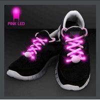 PINK SHOELACES WITH PINK LEDS FOR NIGHT WALKS