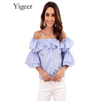 Off Shoulder Ruffled Sleeve Button Down Striped Blouse Top