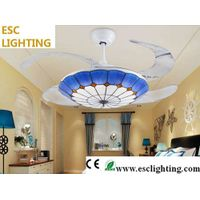 modern Mediterranean Style decorative living room ceiling fan with light thumbnail image