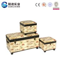 2016 Set 3 PU Leather Wooden Trunk for Storage (SCST00249)