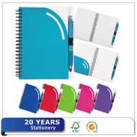 Eco-friendly Recycle Custom A5 Plastic Cover PP Spiral Journal Traveler Notebook with Pen