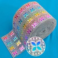 Colorful 10yards/roll Butterfly fashion rhinestone wrap trimming fabric for garment and shoes home d
