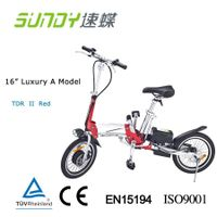 "16"" Folding Electric Bicycle with disc brake-Red"