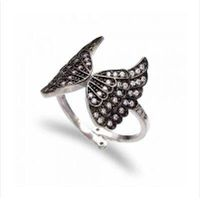 high quality unique design fashion butterfly shape 925 silver black cz ring thumbnail image