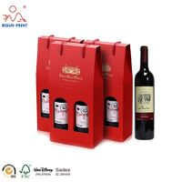 wholesale 2 pack wine bottles box with handle packaging clear window