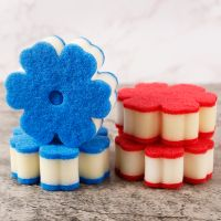 Flower shape Kitchen Cleaning Magic Eraser Sponge Household White Magic Sponge PU and Scouring Pad