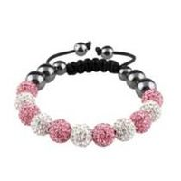 Crystal Beads Bracelet White Pink 10mm