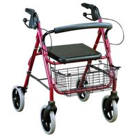 Adjustable Aluminum Deluxe Rollator with 6 Inch Wheels with Loop Break