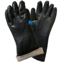 Cotton Jersey Shell With Sandy Finished Black PVC Fully Dipped Chemical Resistant Work Gloves BGPC40
