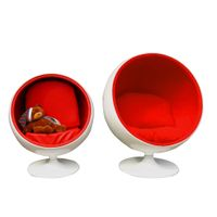 European style relaxing fiberglass material furniture apple swivel round shape ball chair for sale