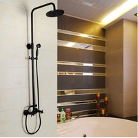Antique Black Bronze Brass Wall Mount Tub Shower Tap with 8 inch Shower Head + Hand Shower TSB002 thumbnail image