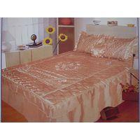 4pc Satin Embroidery Bedspread Set