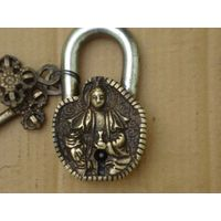 Religious Figure Pad Lock Brass Metal Pad Lock