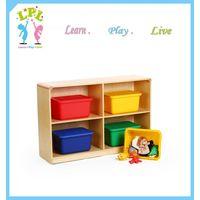 OEM Eco friendly wood cabinet kid toy 4 big cubby storage shelf thumbnail image