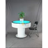 Dia100 H75 cm round movable battery-driven LED bubble coffee table with wheels