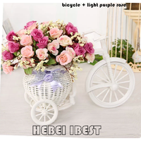 Artificial Flower with Rattan Plaited Bicycle for Home Decor thumbnail image