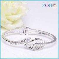 Novelty hollow leaf shape rhodium plating women leaf bracelet adjustiable bangles thumbnail image
