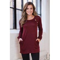 Red Button and Suede Accent Tunic Top