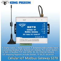 S278 Cellular IoT Modbus Gateway(4DIN,2Relay,1TH,USB,RJ45,RS485,320 Mapping Registers)