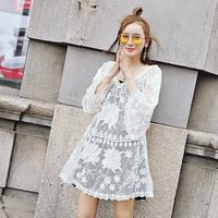 Lace Chiffon Dress Short Lace Embroidery Skirt Belt Hooded Sleeve Lace Hollow Skirt