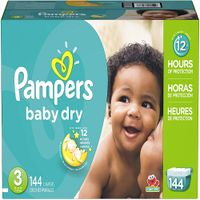 Pampers Baby Dry Disposable Baby Diapers, Giant Pack Size 3, 144 Count