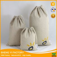 wholesale cotton linen drawstring bag with custom logo