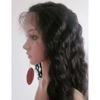 "18"" wavy #1B Full lace wigs 100% Indian remy human hair"