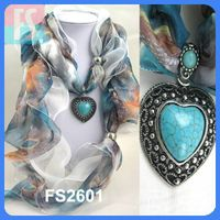 Two layers peacock printing heart turquoise pendant scarf