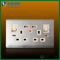Brushed Stainless Steel Wall Plate 2 Gang USB Charger Plug Socket with On/Off Switches and Neon