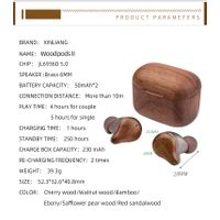 true wireless wooden headset bluetooth 5.0 true woodpods earbuds with charging thumbnail image