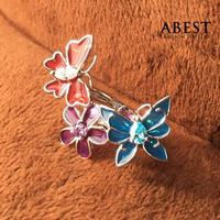 Fashion 925 Sterling Silver Butterfly Shape Color Enamel Ring Gift Design