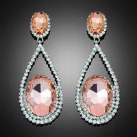 Fashion vintage trend rhinestone crystal water drop champagne earrings loyal style Bc014 thumbnail image