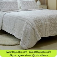 Pure Cotton White Embroidered Bedding Sets Cross Stitch Summer Quilt Cover