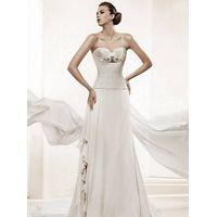 wholesale Unique Gorgeous Train Chiffon A-line Sweetheart Wedding Dress D62862