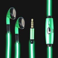 3.5mm Visible EL Cold Green Light Twinkle with Music Rhythm In-ear Stereo Earphones for iPhone 106cm