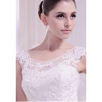 Scoop lace beaded applique satin belt chapel train wedding dress thumbnail image