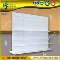 Single side supermarket display shelving fixtures