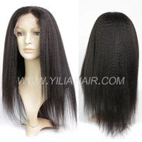#1B 100% Human hair full lace wigs 130% density Kinky Straight