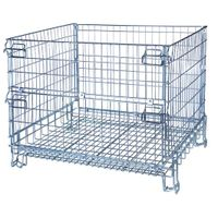 Collapsible hot dip mental storage wire mesh cage
