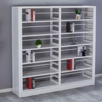 Modern metal library book shelf with adjustabled bookends
