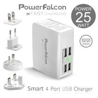 PowerFalcon 25W Smart 4-port USB charger/interchangable