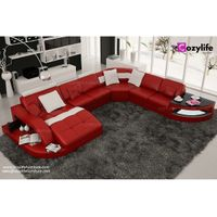 U shaped large sectional leather sofa with chaise thumbnail image
