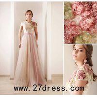 Short Sleeves Tulle Print Beaded High Collar Sash Wedding Dresses thumbnail image