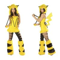 Halloween Cartoon Yellow Pikachu Costumes Sexy Complay Suit Dress Fur Masquerade thumbnail image