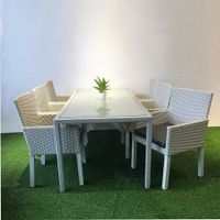 WICKER RATTAN OUTDOOR LUXURY DINING TABLE SET 6 CHAIRS.