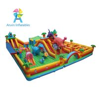 luxury maze playground inflatable dinosaur bouncer playing house with small slide for kids thumbnail image
