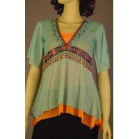 Silk blouse with jewelry stiched