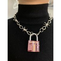 Lovely pink purple white rainbow resin bungee hop girl pink multi-layer fairy choker necklace thumbnail image